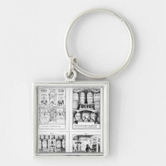 Ginen shoppar fyrkantig silverfärgad nyckelring