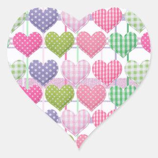 Ginghamhjärtamönster Hjärtformat Klistermärke