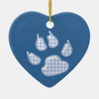 ginghamhundtass - blått hjärtformad julgransprydnad i keramik