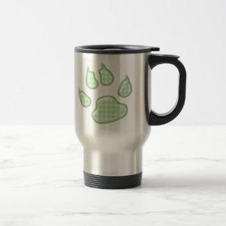 ginghamhundtass - grönt rostfritt stål resemugg