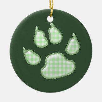 ginghamhundtass - grönt rund julgransprydnad i keramik
