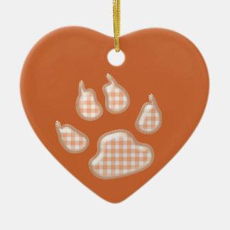 ginghamhundtass - orange hjärtformad julgransprydnad i keramik