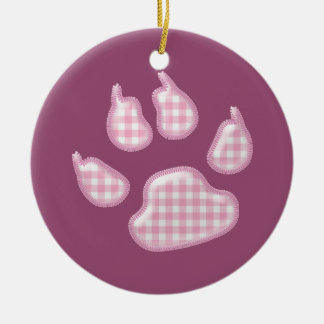 ginghamhundtass - rosa rund julgransprydnad i keramik