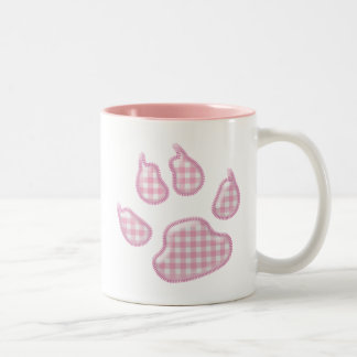 ginghamhundtass - rosa Två-Tonad mugg