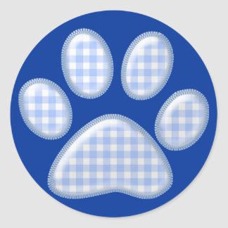 ginghamkatttass - blått runt klistermärke