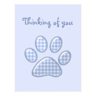 ginghamkatttass - blått vykort