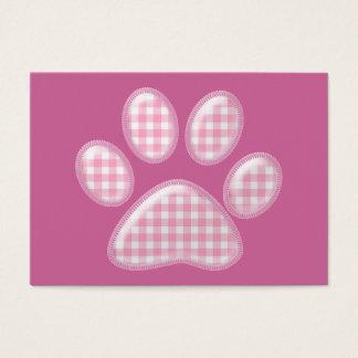 ginghamkatttass - rosa visitkort