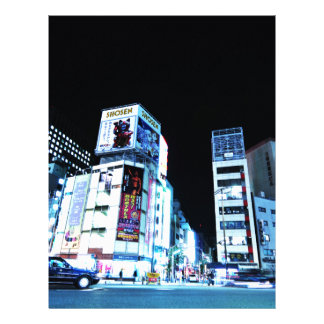 Ginza område i Tokyo, Japan på natten Brevhuvud