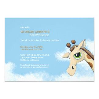 Giraff i inbjudan för molnbarns födelsedagparty 12,7 x 17,8 cm inbjudningskort