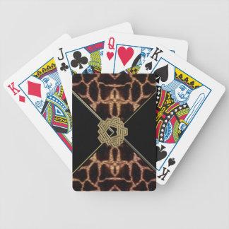 Giraff med den guld- dekorsamlingen spelkort