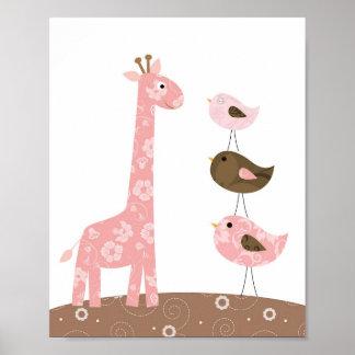 Giraff- och fågelbarnkammarekonst poster