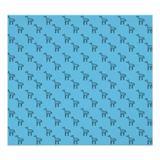 Giraff på blåttmönster poster