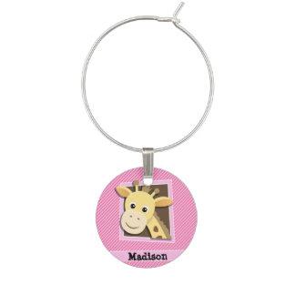 Giraff på rosa- & vitrandar berlock vinglas