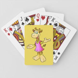 Giraff som leker kortet spel kort