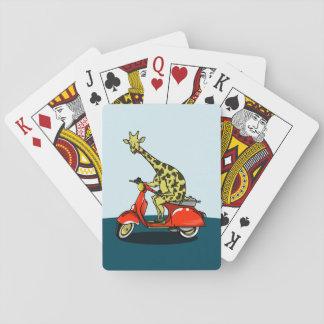 Giraff som rider en röd sparkcykel spelkort