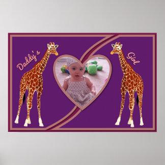 Giraff w/Heart din affisch för fotopapporflicka Poster