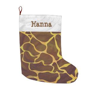 Giraffbrunt och gult stor julstrumpa