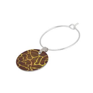 Giraffbrunt och gult tryck berlock vinglas