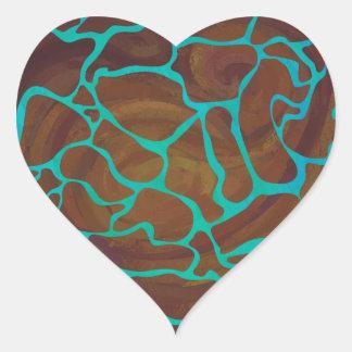Giraffbrunt och krickatryck hjärtformat klistermärke