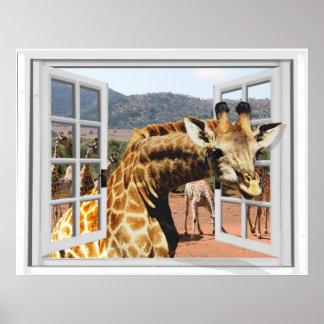 Giraffet fejkar in fönstret beskådar Trompe - l ' Poster