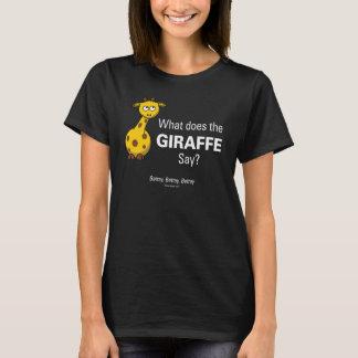 Giraffet förråder kvinna svart grundläggande t shirt