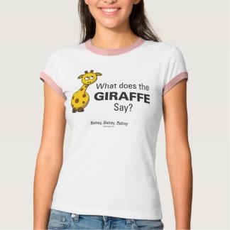 Giraffet förråder kvinna utslagsplatsen för t-shirts