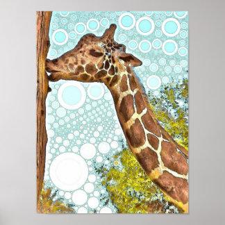 Giraffkyssaffisch Poster