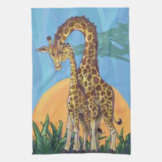 Giraffmammor och baby kökshandduk