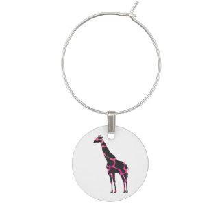 Giraffshock rosa- och svartSilhouette Berlock Vinglas