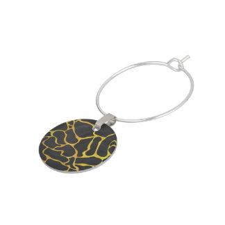 Giraffsvart och gult tryck berlock vinglas