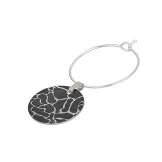 Giraffsvarten och tänder - det gråa trycket berlock vinglas