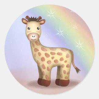 Giraldo giraffet - klistermärkear runt klistermärke