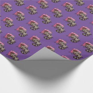 Girig Raccoonfullt av födelsedagtårtatecknaden Presentpapper