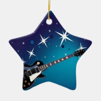 Gitarr - blått julgransprydnad keramik