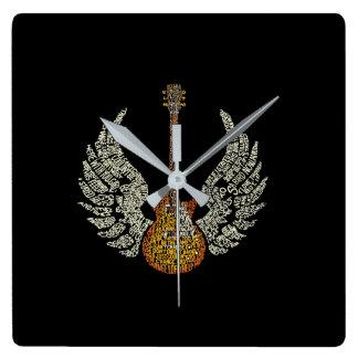 Gitarr med vingar fyrkantig klocka