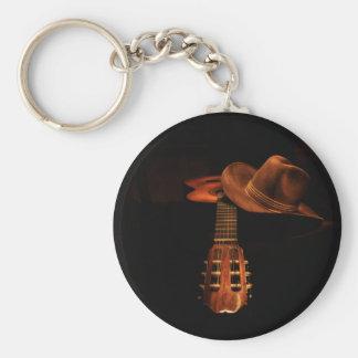 Gitarr och hatt rund nyckelring