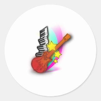 Gitarr och piano runt klistermärke