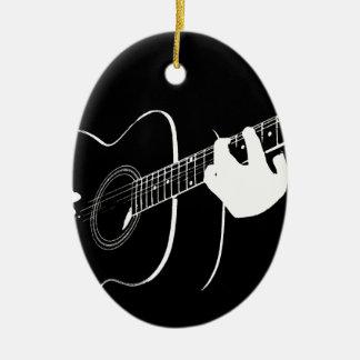 gitarr ovalformad julgransprydnad i keramik