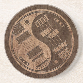 Gitarren och bas- Yin Yang med Wood korn verkställ Underlägg Sandsten