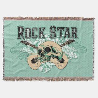 Gitarrer för rockstjärnaskallekonst dekorativ filt
