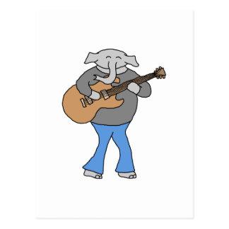 Gitarrist. Elefant som leker den elektriska Vykort
