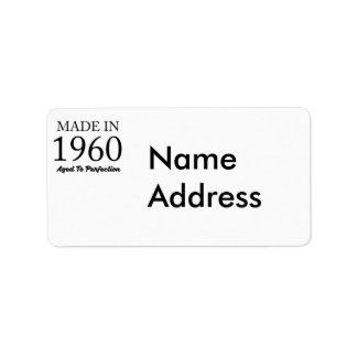 Gjort i 1960 adressetikett