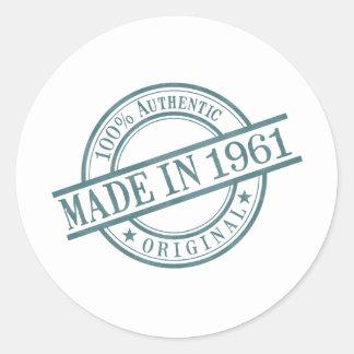 Gjort i för frimärkestil för 1961 runda logotyp runt klistermärke