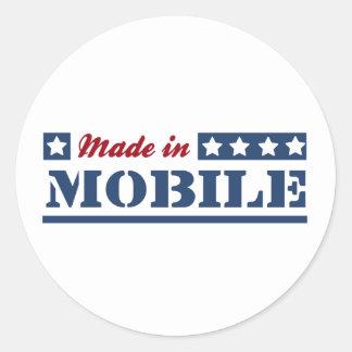 Gjort i mobil runt klistermärke