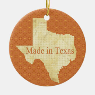 Gjort i Texas baby den 1st prydnaden för foto för Rund Julgransprydnad I Keramik
