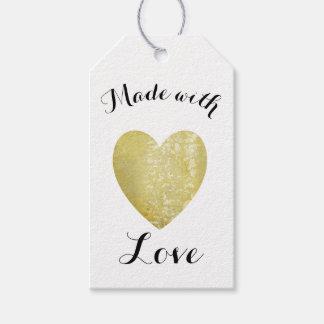 Gjort med guld för Faux för kärlekhjärtafrimärke Presentetikett