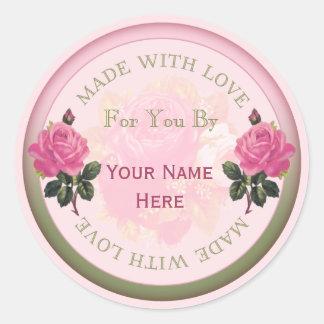 Gjort med kärlekpersonligsälar, klistermärkero runt klistermärke
