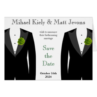 Glad bröllop spara datum Notecard för grön nejlika OBS Kort