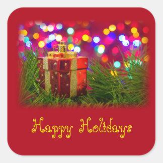 Glad helg boxas av presenterleksaken fyrkantigt klistermärke
