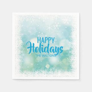 Glad helg för snöflingor för personligblåttvit papper servetter